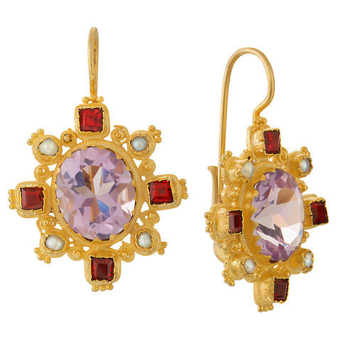 Trafalgar Amethyst, Garnet and Pearl Earrings