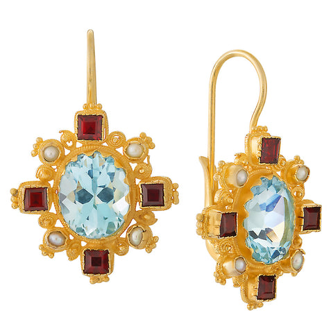 Trafalgar Blue Topaz, Garnet and Pearl Earrings
