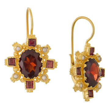 Trafalgar Garnet and Pearl Earrings