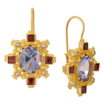 Trafalgar Iolite, Garnet and Pearl Earrings