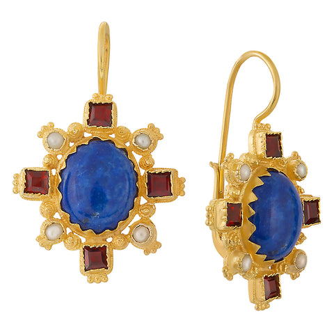 Trafalgar Lapis, Garnet and Pearl Earrings