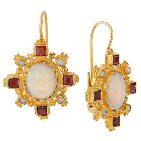 Trafalgar Opal, Garnet, & Pearl Earrings