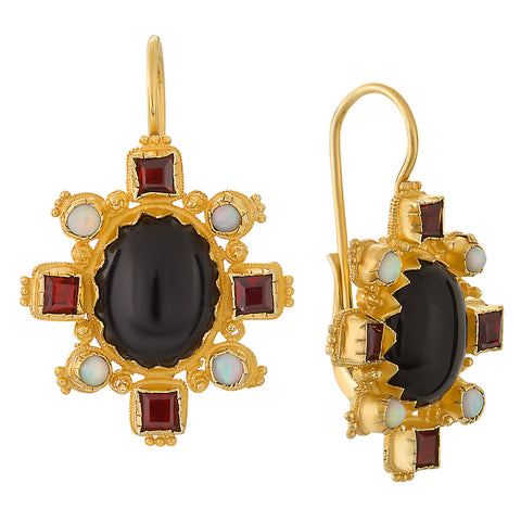 Trafalgar Onyx, Garnet & Pearl Earrings