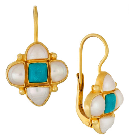 Mona Lisa Turquoise and Pearl Earrings