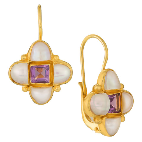 Mona Lisa Amethyst and Pearl Earrings
