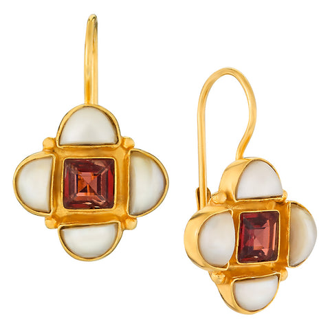 Mona Lisa Pearl & Garnet Earrings