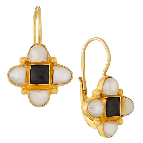 Mona Lisa Onyx and Pearl Earrings