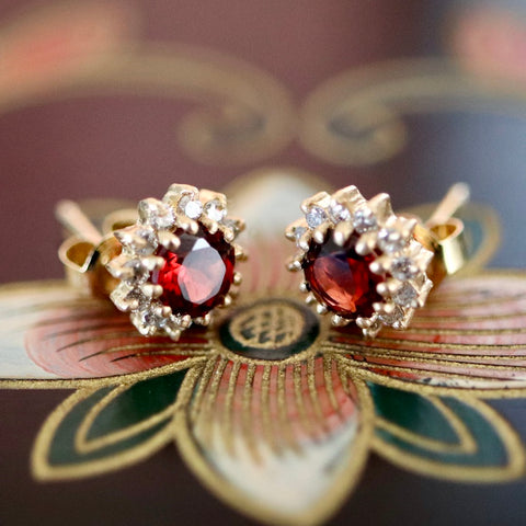 Cambridge Earrings: Garnet, Diamonds & 14k Gold