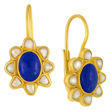 Isabella Lapis and Pearl Earrings