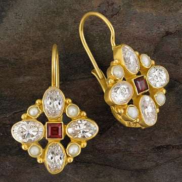 Florentine Cross Garnet, Cubic Zirconia and Pearl Earrings