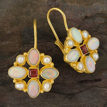 Florentine Cross Opal, Pearl and Garnet Earrings