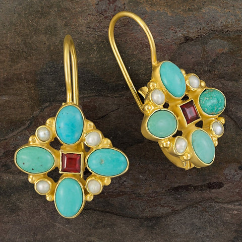 Florentine Cross Turquoise, Pearl and Garnet Earrings