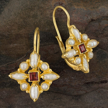 Florentine Cross Pearl and Garnet Earrings