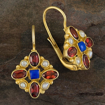 Florentine Cross Lapis, Garnet and Pearl Earrings