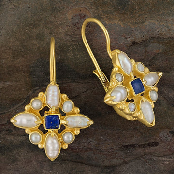 Florentine Cross Lapis and Pearl Earrings
