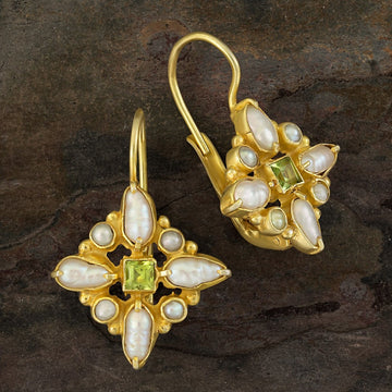 Florentine Cross Peridot and Pearl Earrings