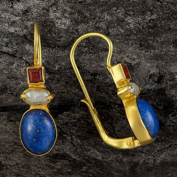 Westminster Lapis, Pearl and Garnet Earrings