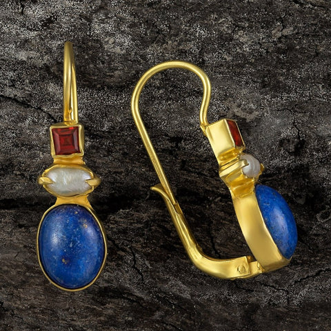 Westminster Lapis, Pearl & Garnet Earrings