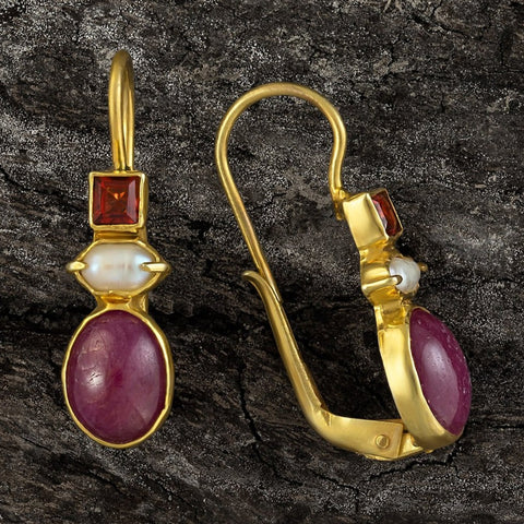 Westminster Ruby, Pearl and Garnet Earrings