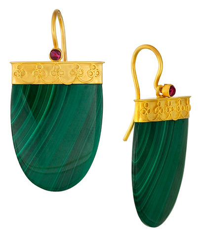 Malachite and Garnet Shield Earrings