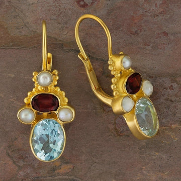 Polly Peachum Blue Topaz, Garnet and Pearl Earrings