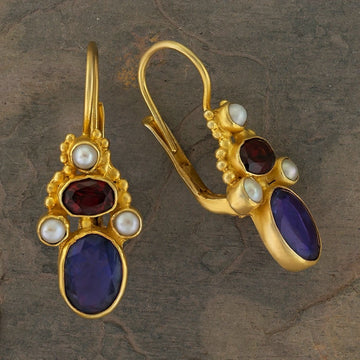 Brighton Iolite, Garnet and Pearl Earrings