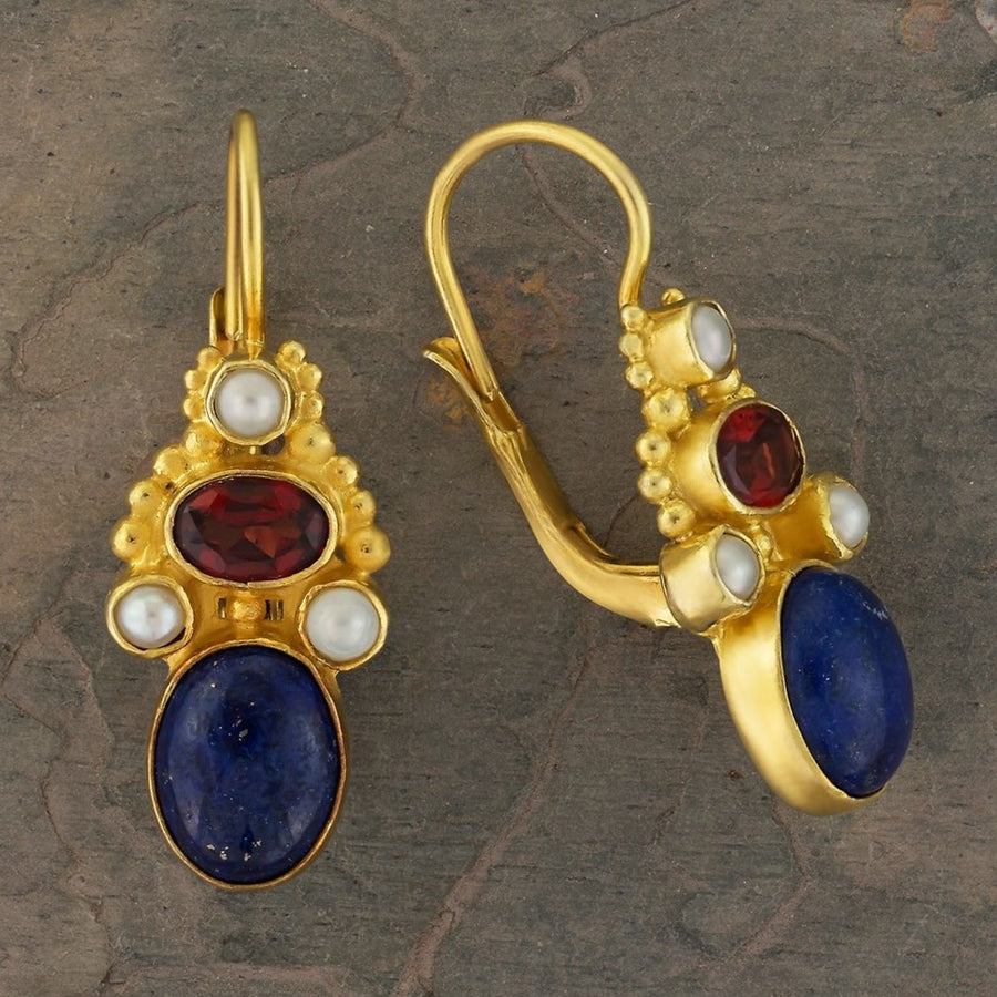 Brighton Lapis, Garnet and Pearl Earrings