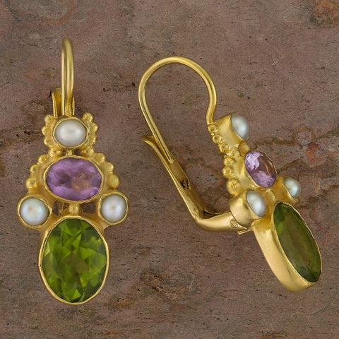 Polly Peachum Peridot, Amethyst and Pearl Earrings