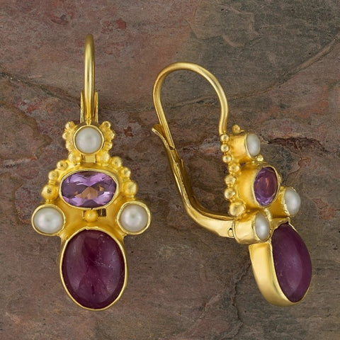 Brighton Ruby, Amethyst and Pearl Earrings