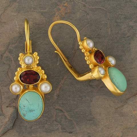 Polly Peachum Turquoise, Garnet and Pearl Earrings