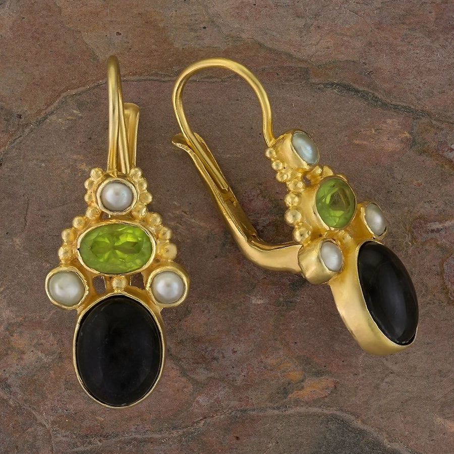 Polly Peachum Onyx, Peridot, Pearl Earrings