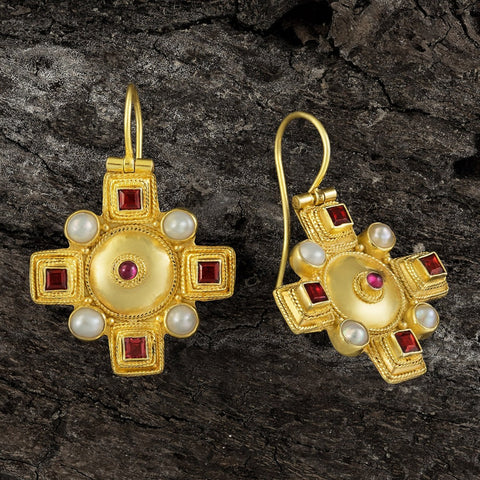 Canterbury Cross Renaissance Garnet & Pearl Earrings