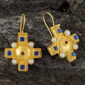 Canterbury Cross Lapis and Pearl Earrings