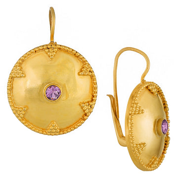 Cheshire Disc Amethyst Earrings