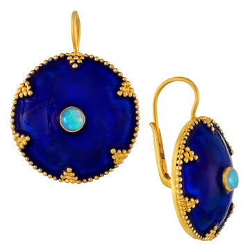 Cheshire Disc Opal Enamel Earrings