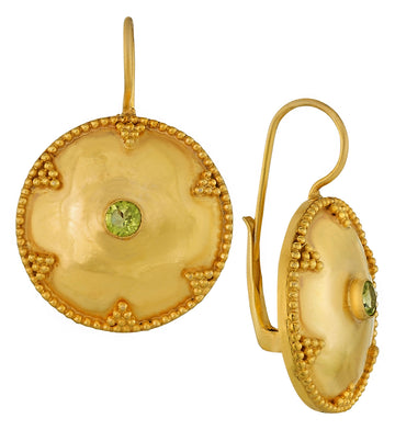 Cheshire Disc Peridot Earrings