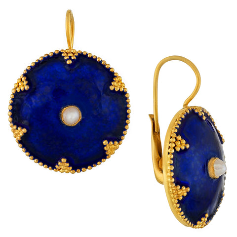 Cheshire Disc Pearl and Enamel Earrings