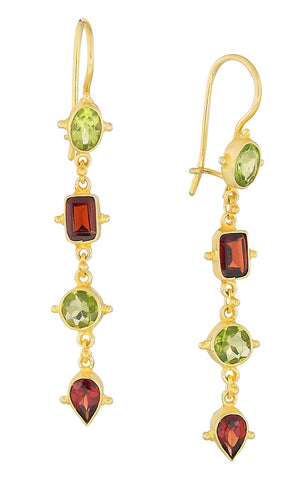 Tess of The D'urbervilles Peridot and Garnet Earrings