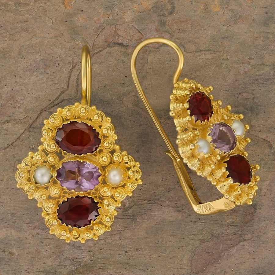 Duchess Of Newcastle Garnet Amethyst and Pearl Earrings