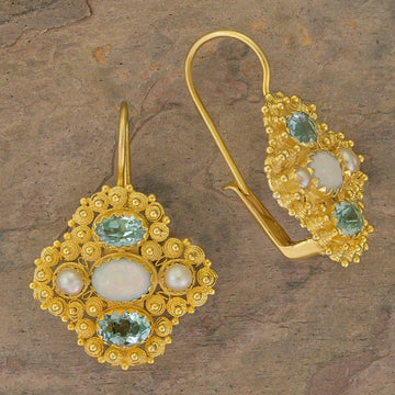 Duchess Of Newcastle Opal, Blue Topaz and Pearl Earrings