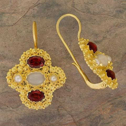 Duchess Of Newcastle Moonstone, Garnet and Pearl Earrings