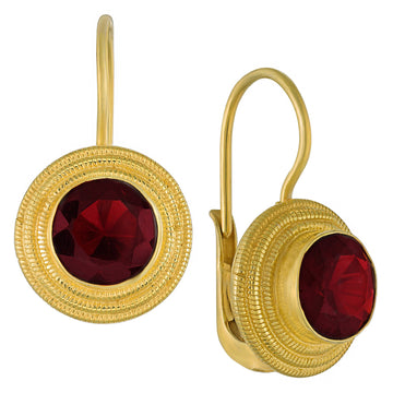 Discus Garnet Earrings