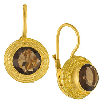 Discus Smoky Topaz Earrings