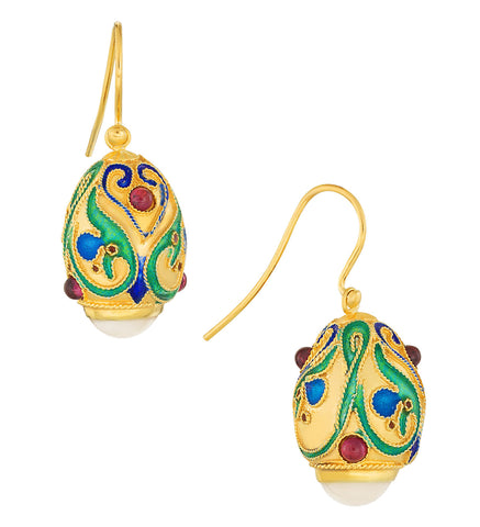 Lermentov Moonstone Fabergé Egg Earrings