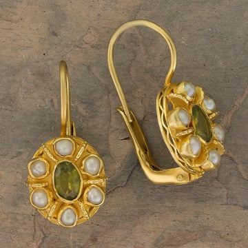 Enchanted Peridot and Pearl Earrings
