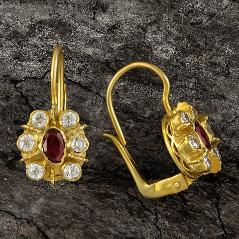 Enchanted Garnet and Cubic Zirconia Earrings