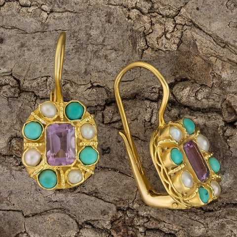 Cecily Cardew Amethyst, Turquoise and Pearl Earrings
