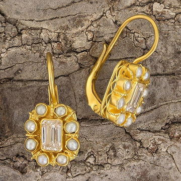 Cecily Cardew Cubic Zirconia and Pearl Earrings