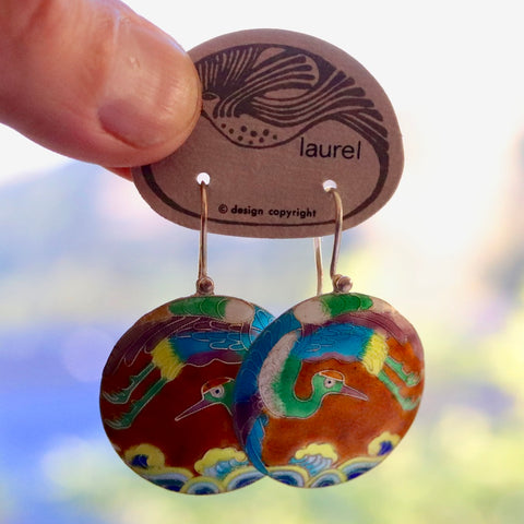 Vintage Laurel Burch Stork Earrings