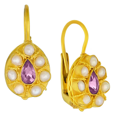 Heirloom Teardrop Amethyst and Pearl Earrings